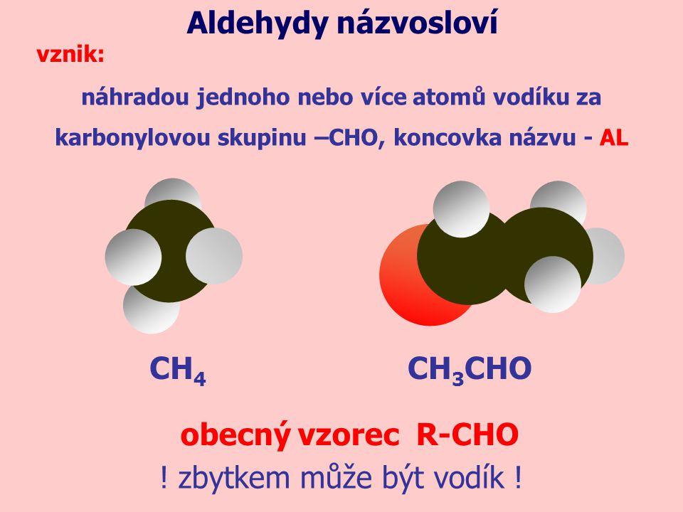 Aldehydy názvosloví CH4 CH3CHO obecný vzorec R-CHO