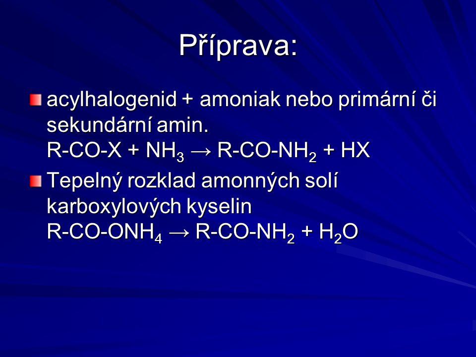 Příprava: acylhalogenid + amoniak nebo primární či sekundární amin. R-CO-X + NH3 → R-CO-NH2 + HX.