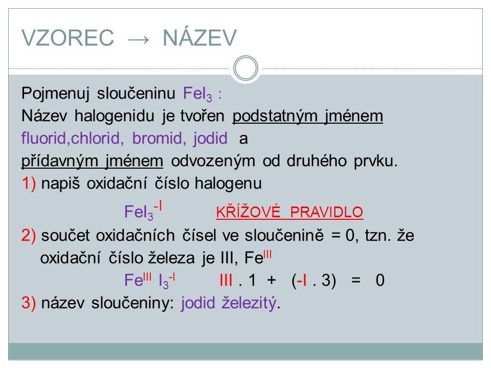 VZOREC → NÁZEV Pojmenuj sloučeninu FeI3 :