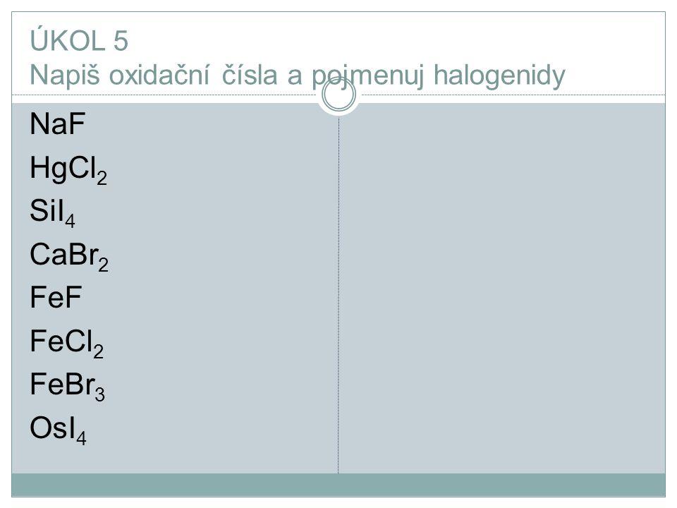 ÚKOL 5 Napiš oxidační čísla a pojmenuj halogenidy
