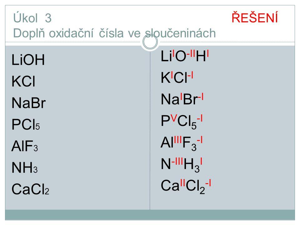 Úkol 3 ŘEŠENÍ Doplň oxidační čísla ve sloučeninách