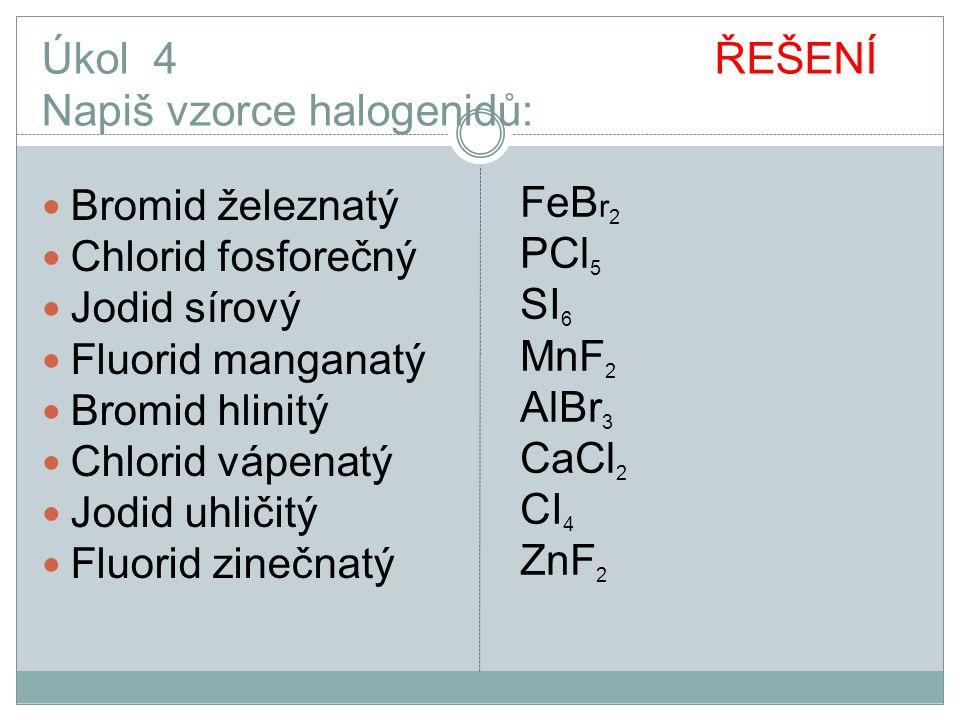 Úkol 4 ŘEŠENÍ Napiš vzorce halogenidů: