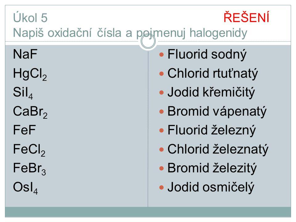 Úkol 5 ŘEŠENÍ Napiš oxidační čísla a pojmenuj halogenidy