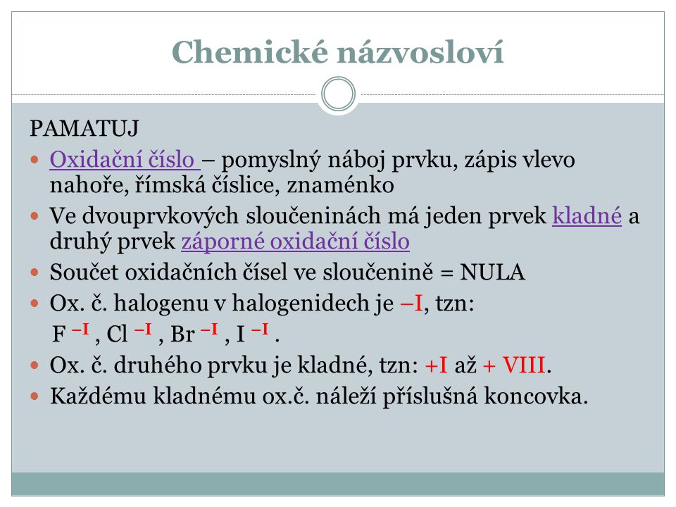Chemické názvosloví PAMATUJ