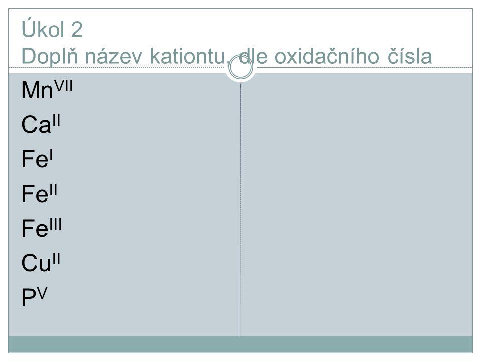 Úkol 2 Doplň název kationtu, dle oxidačního čísla