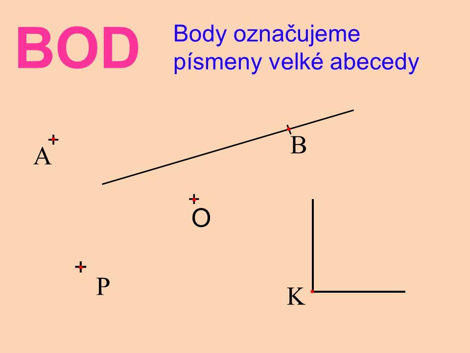 BOD Body označujeme písmeny velké abecedy B . + A + O K + P