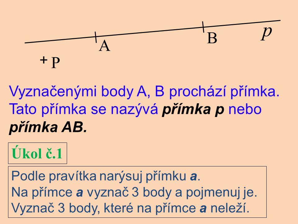 p B A P + Vyznačenými body A, B prochází přímka.