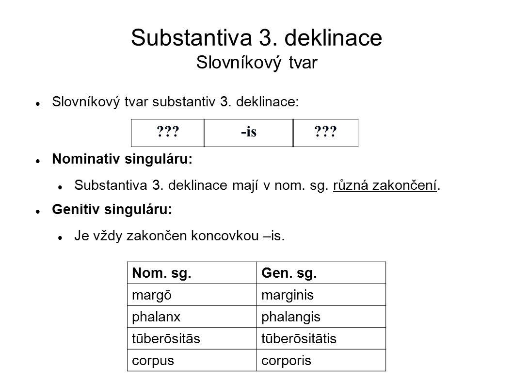 Substantiva 3. deklinace Slovníkový tvar