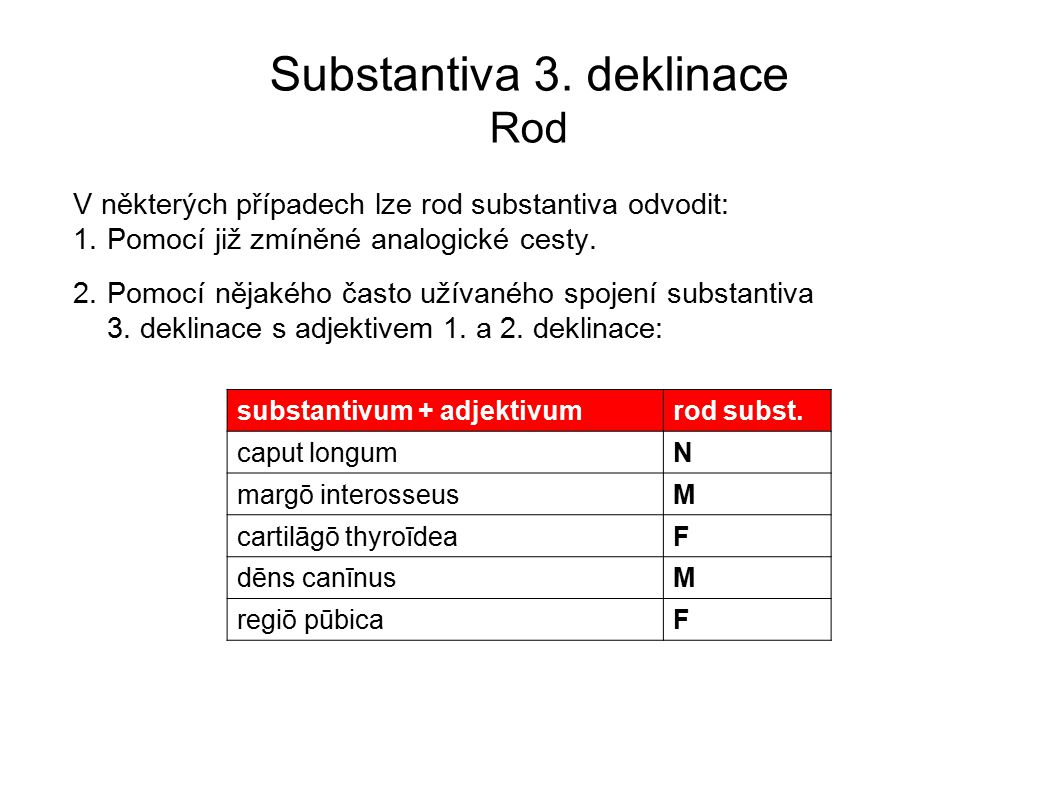 Substantiva 3. deklinace Rod