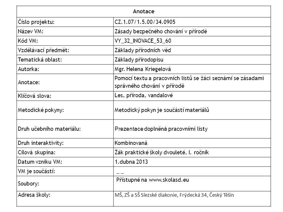 Anotace Číslo projektu: CZ.1.07/1.5.00/34.0905. Název VM: Zásady bezpečného chování v přírodě. Kód VM: