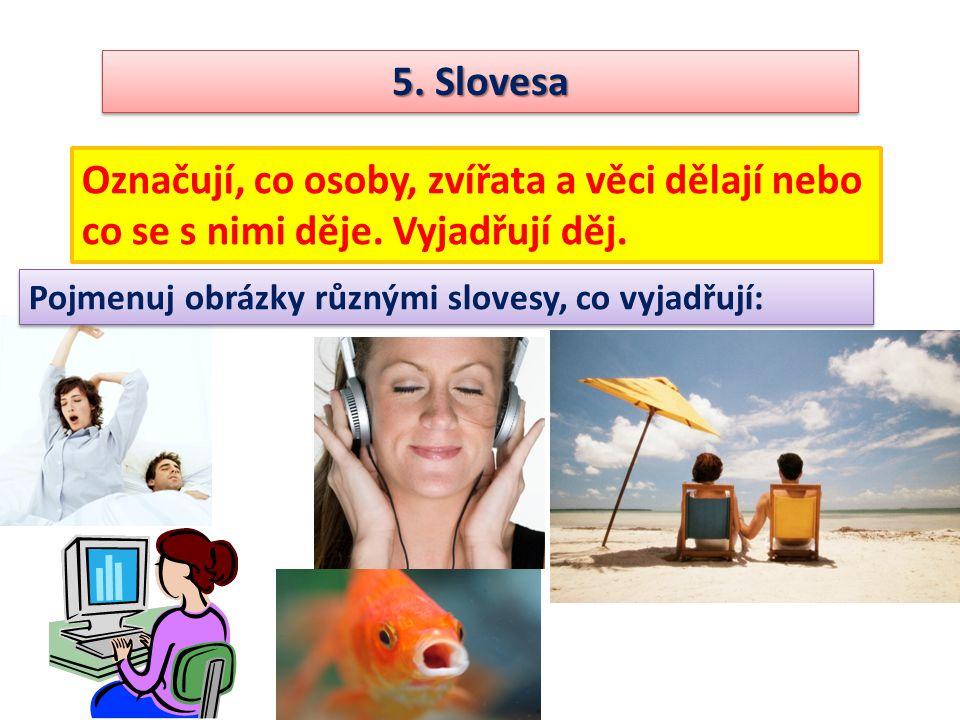 5. Slovesa Označují, co osoby, zvířata a věci dělají nebo co se s nimi děje.