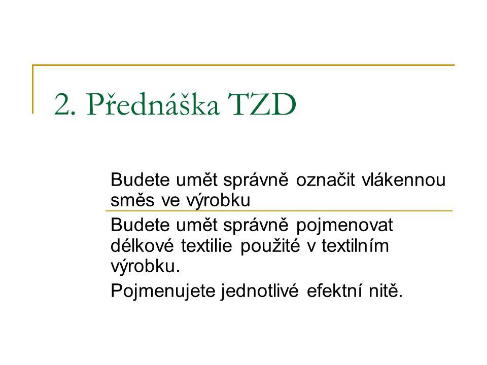2. Přednáška TZD Budete umět správně označit vlákennou směs ve výrobku