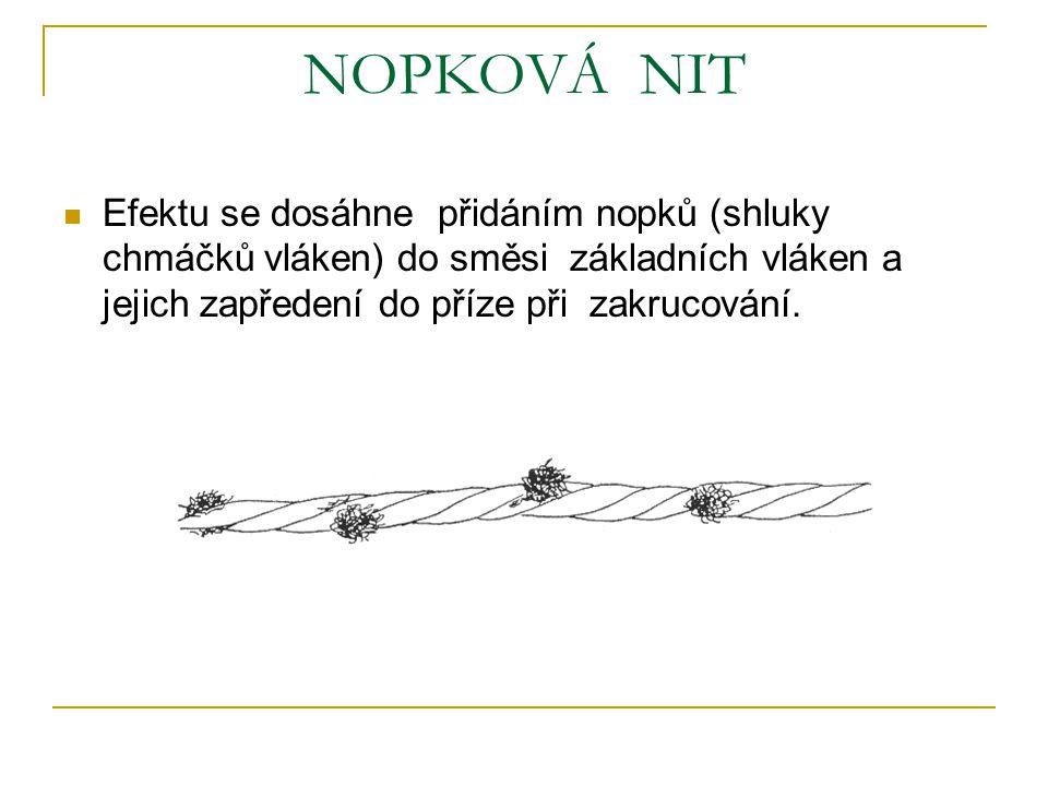 NOPKOVÁ NIT Efektu se dosáhne přidáním nopků (shluky chmáčků vláken) do směsi základních vláken a jejich zapředení do příze při zakrucování.