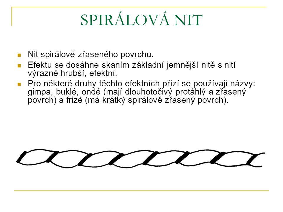 SPIRÁLOVÁ NIT Nit spirálově zřaseného povrchu.