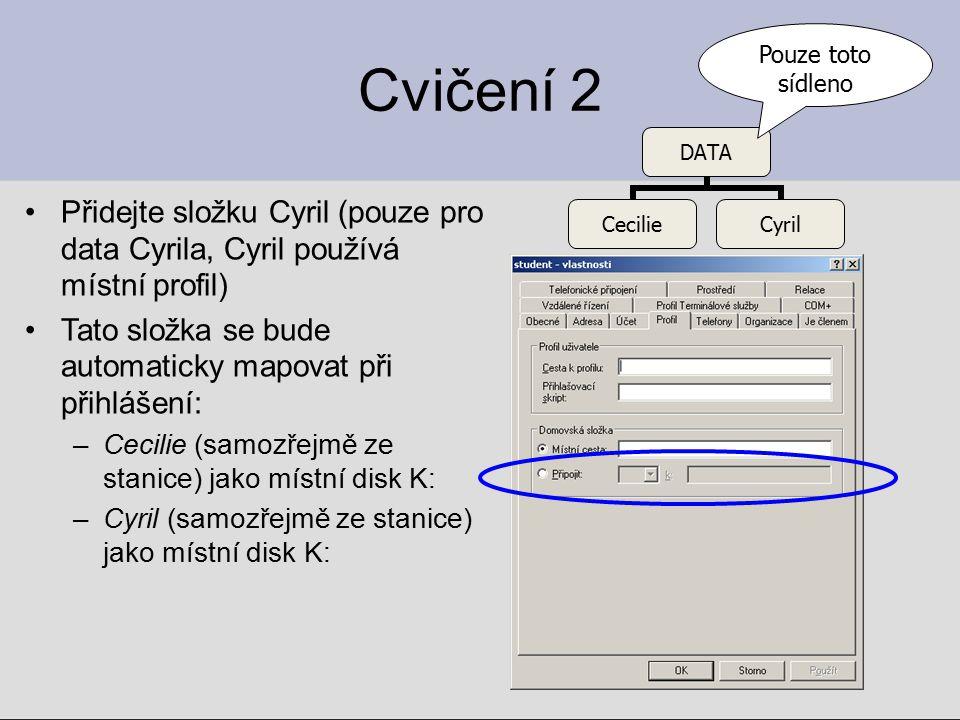 Pouze toto sídleno Cvičení 2. Přidejte složku Cyril (pouze pro data Cyrila, Cyril používá místní profil)