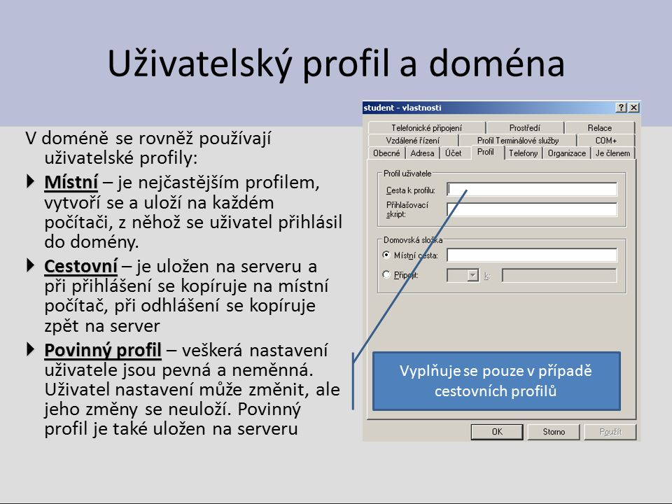 Uživatelský profil a doména