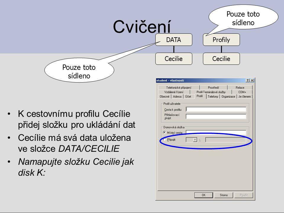Cvičení K cestovnímu profilu Cecílie přidej složku pro ukládání dat