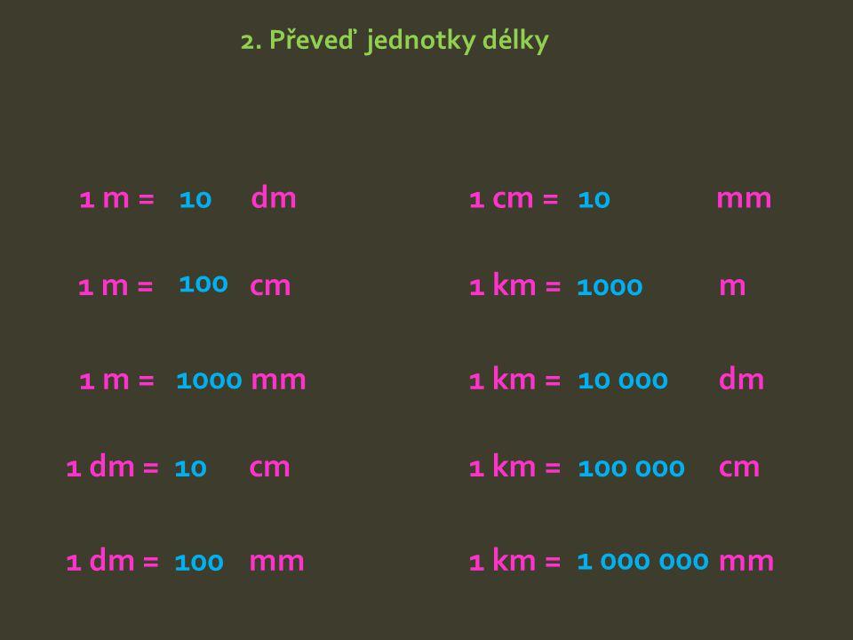 1 m = dm 10 1 cm = mm 10 1 m = cm 100 1 km = m 1000 1 m = mm 1000