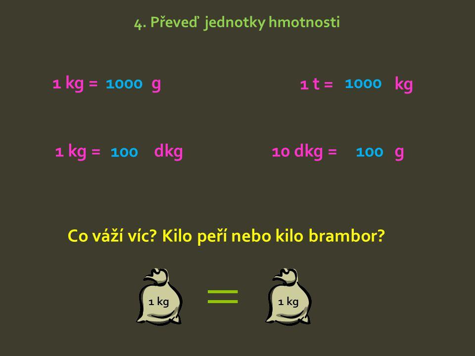 Co váží víc Kilo peří nebo kilo brambor
