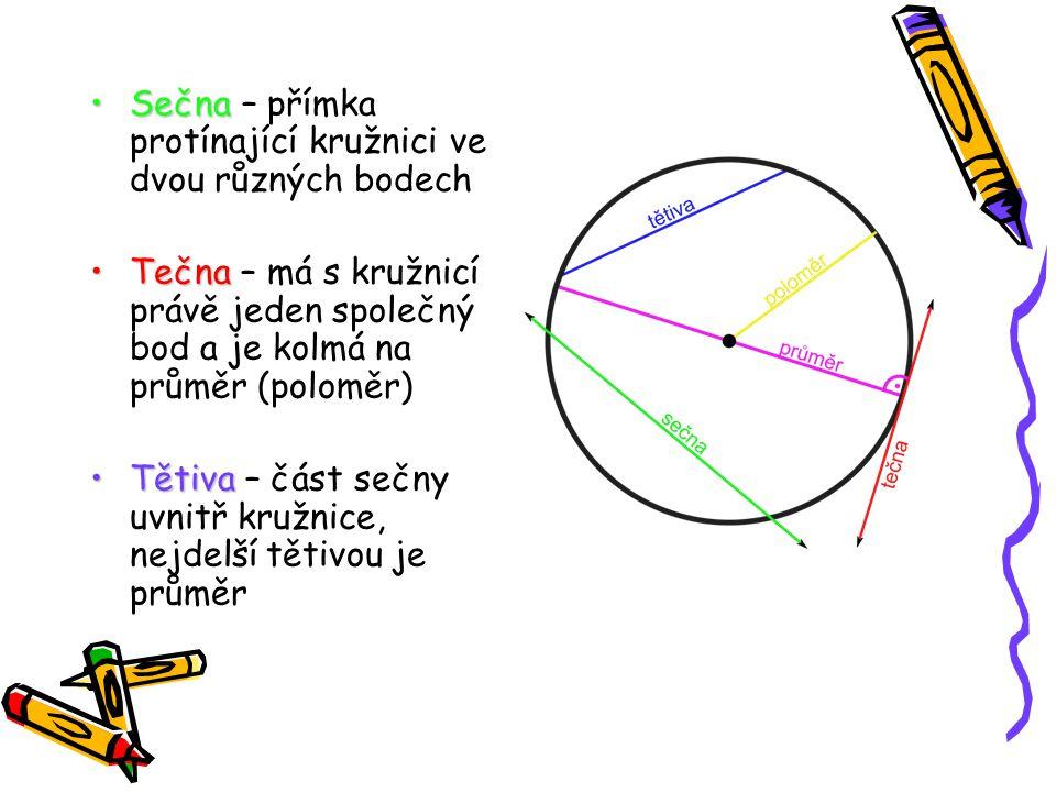Sečna – přímka protínající kružnici ve dvou různých bodech