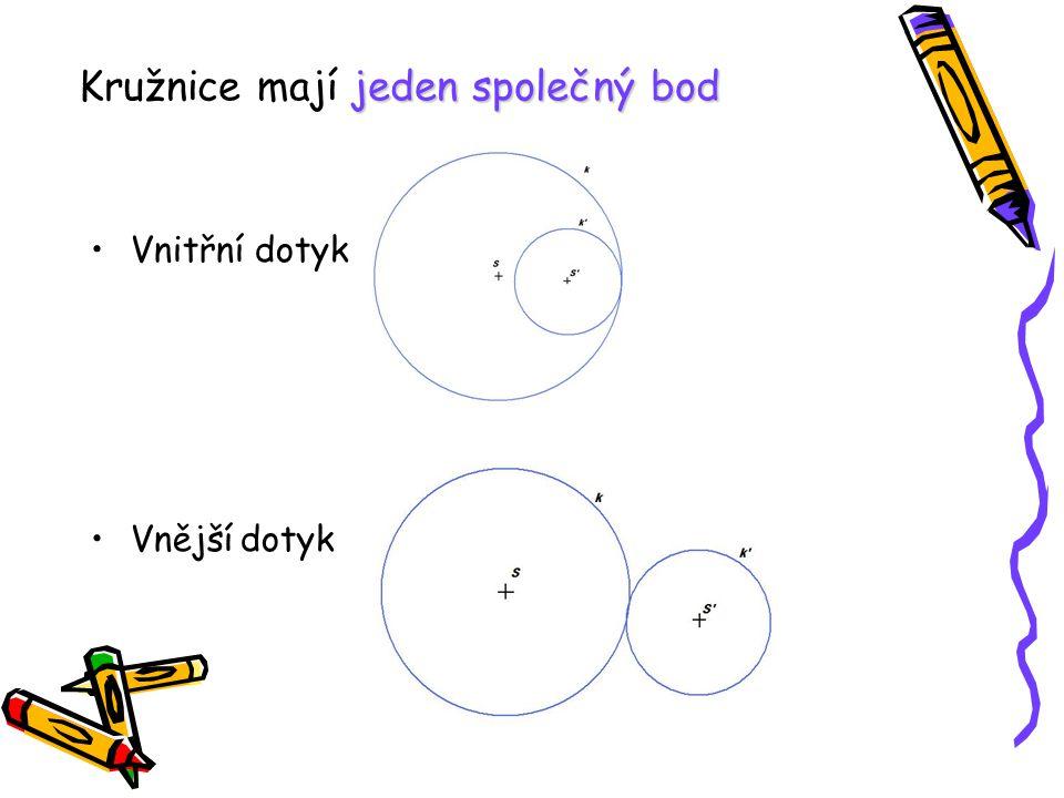 Kružnice mají jeden společný bod
