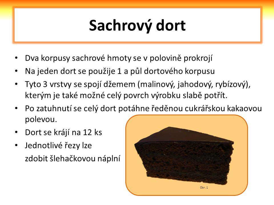 Sachrový dort Dva korpusy sachrové hmoty se v polovině prokrojí