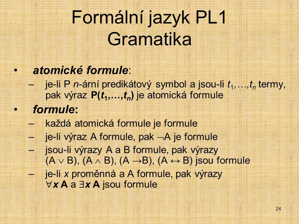 Formální jazyk PL1 Gramatika