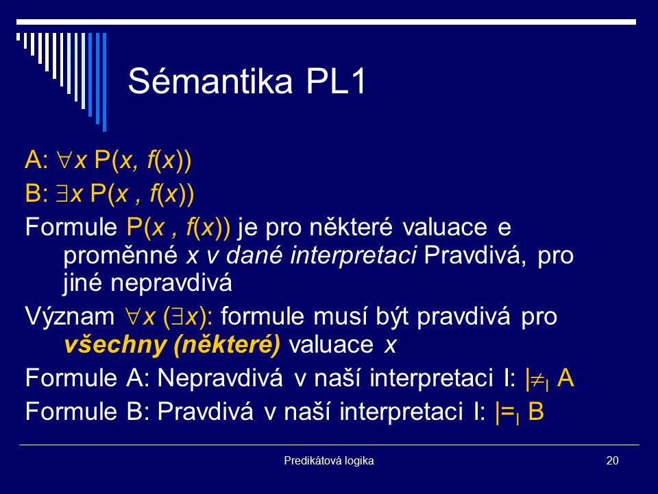 Sémantika PL1 A: x P(x, f(x)) B: x P(x , f(x))