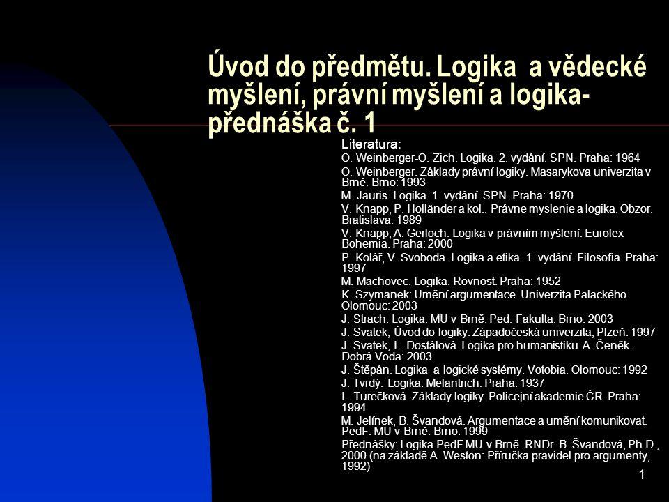 Úvod do předmětu. Logika a vědecké myšlení, právní myšlení a logika-přednáška č. 1