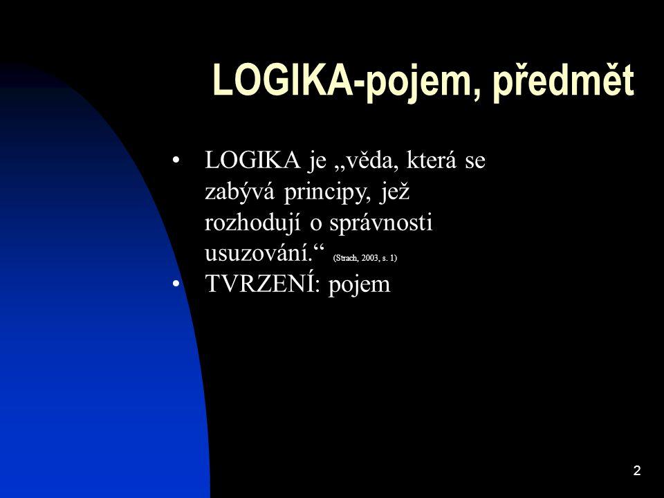 """LOGIKA-pojem, předmět LOGIKA je """"věda, která se zabývá principy, jež rozhodují o správnosti usuzování. (Strach, 2003, s. 1)"""