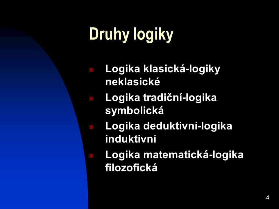 Druhy logiky Logika klasická-logiky neklasické