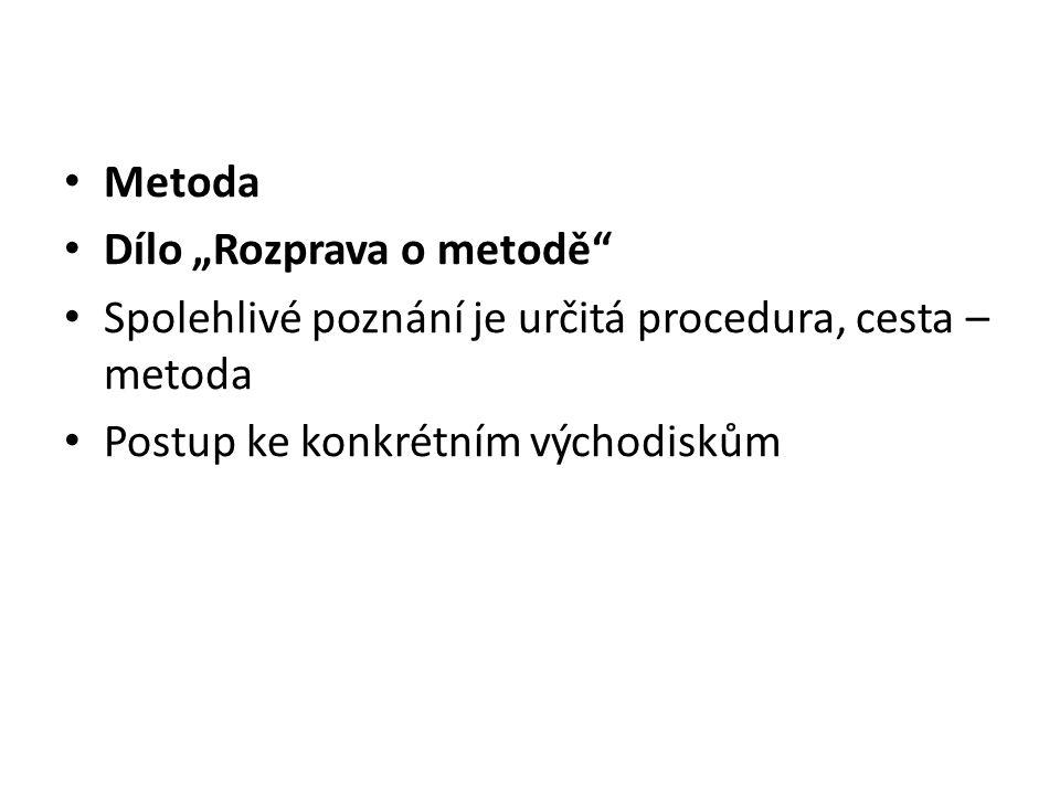 """Metoda Dílo """"Rozprava o metodě Spolehlivé poznání je určitá procedura, cesta – metoda."""