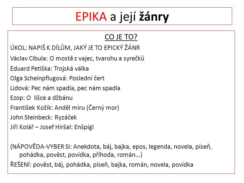 EPIKA a její žánry CO JE TO