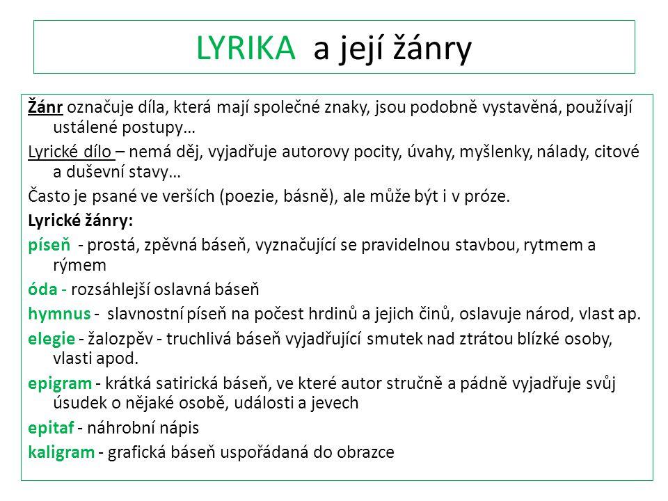 LYRIKA a její žánry
