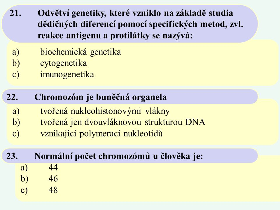 21. Odvětví genetiky, které vzniklo na základě studia
