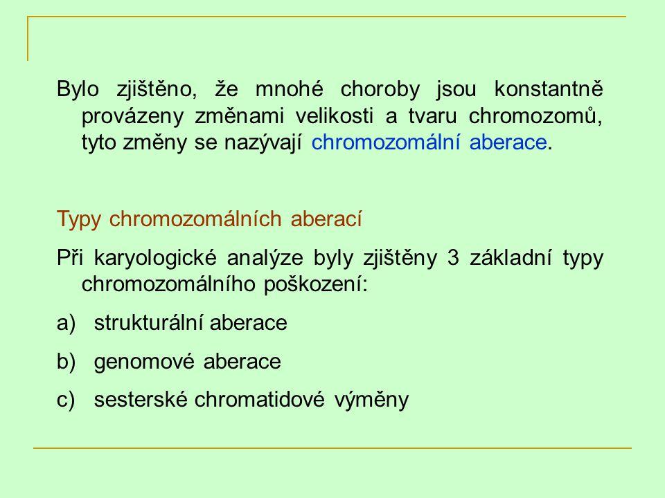 Bylo zjištěno, že mnohé choroby jsou konstantně provázeny změnami velikosti a tvaru chromozomů, tyto změny se nazývají chromozomální aberace.