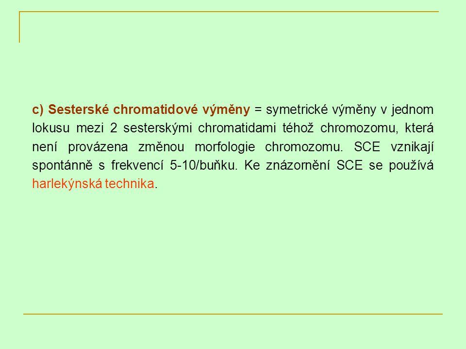 c) Sesterské chromatidové výměny = symetrické výměny v jednom lokusu mezi 2 sesterskými chromatidami téhož chromozomu, která není provázena změnou morfologie chromozomu.