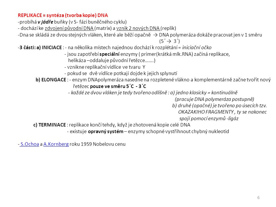REPLIKACE = syntéza (tvorba kopie) DNA