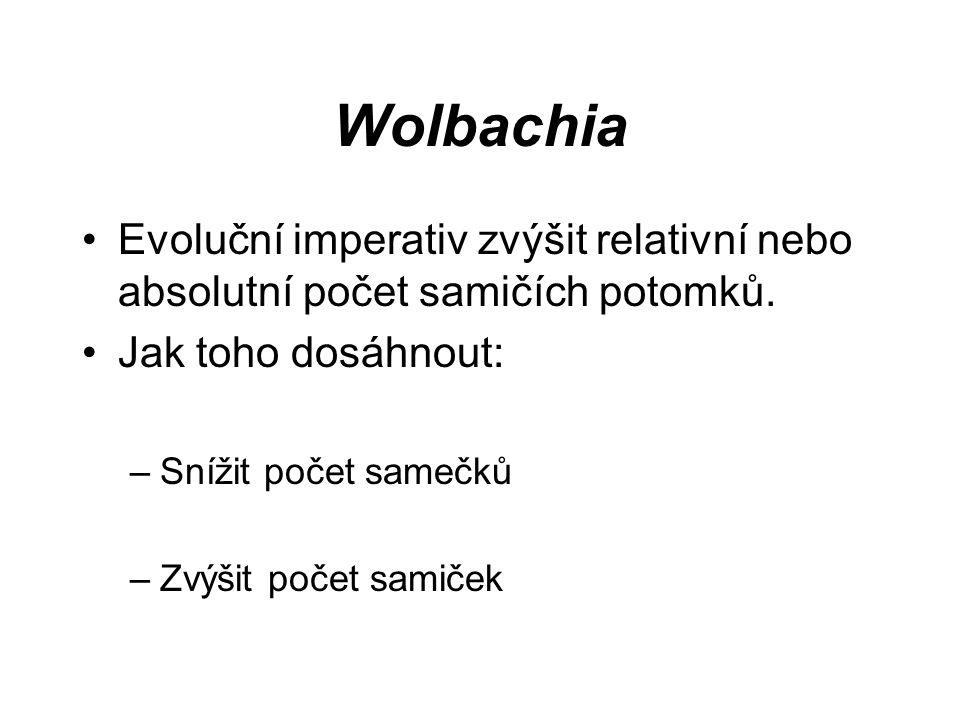 Wolbachia Evoluční imperativ zvýšit relativní nebo absolutní počet samičích potomků. Jak toho dosáhnout: