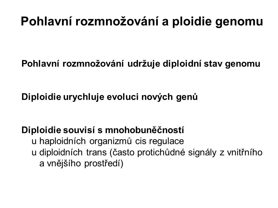 Pohlavní rozmnožování a ploidie genomu