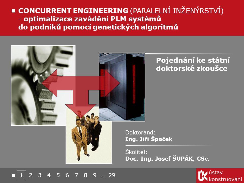 CONCURRENT ENGINEERING (PARALELNÍ INŽENÝRSTVÍ) - optimalizace zavádění PLM systémů do podniků pomocí genetických algoritmů