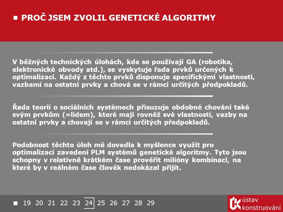 PROČ JSEM ZVOLIL GENETICKÉ ALGORITMY