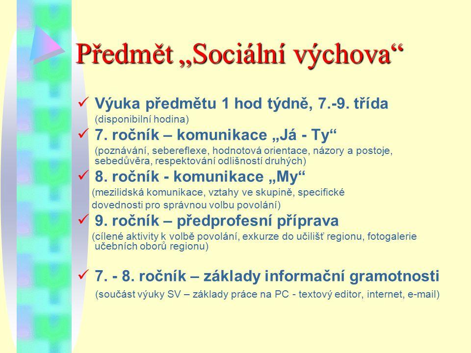 """Předmět """"Sociální výchova"""