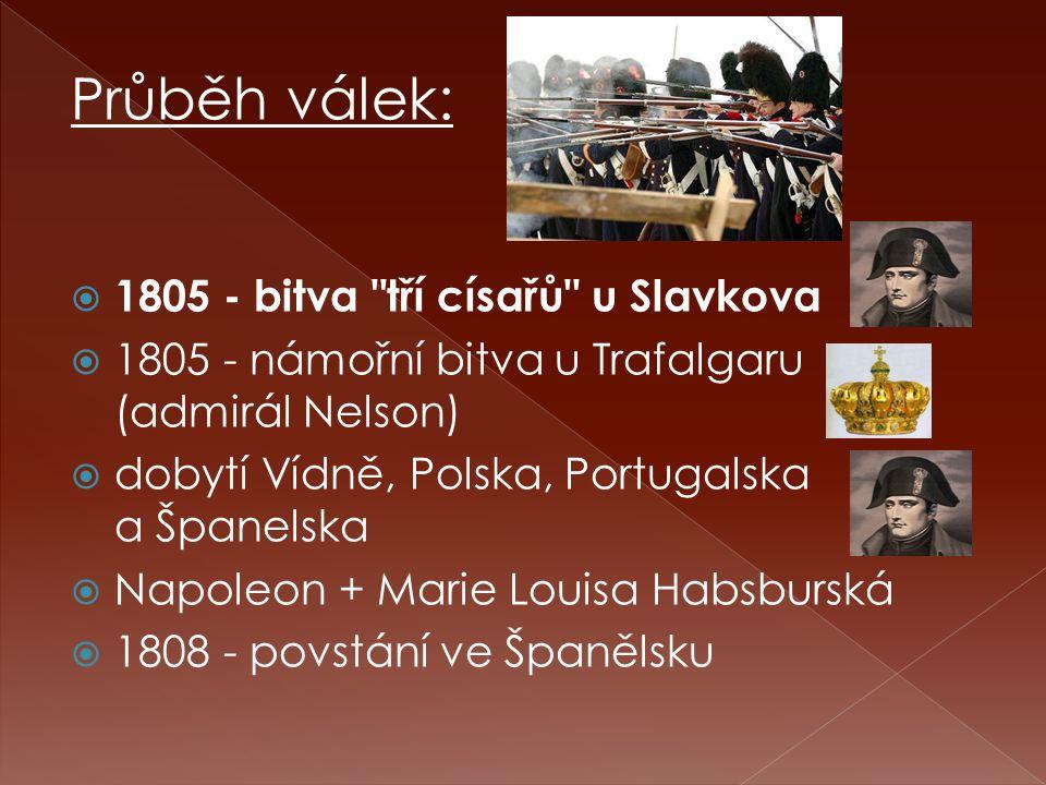 Průběh válek: 1805 - bitva tří císařů u Slavkova