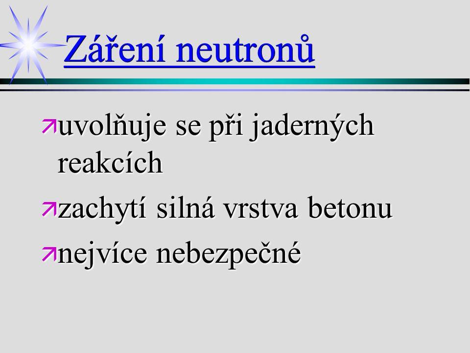 Záření neutronů uvolňuje se při jaderných reakcích