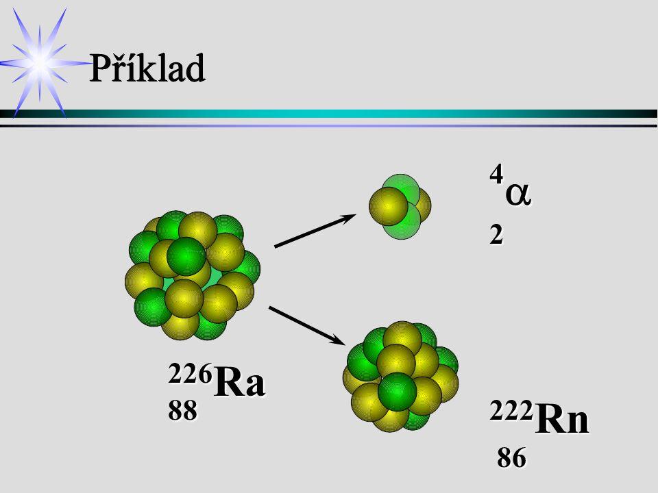 Příklad 4a 2 226Ra 88 222Rn 86