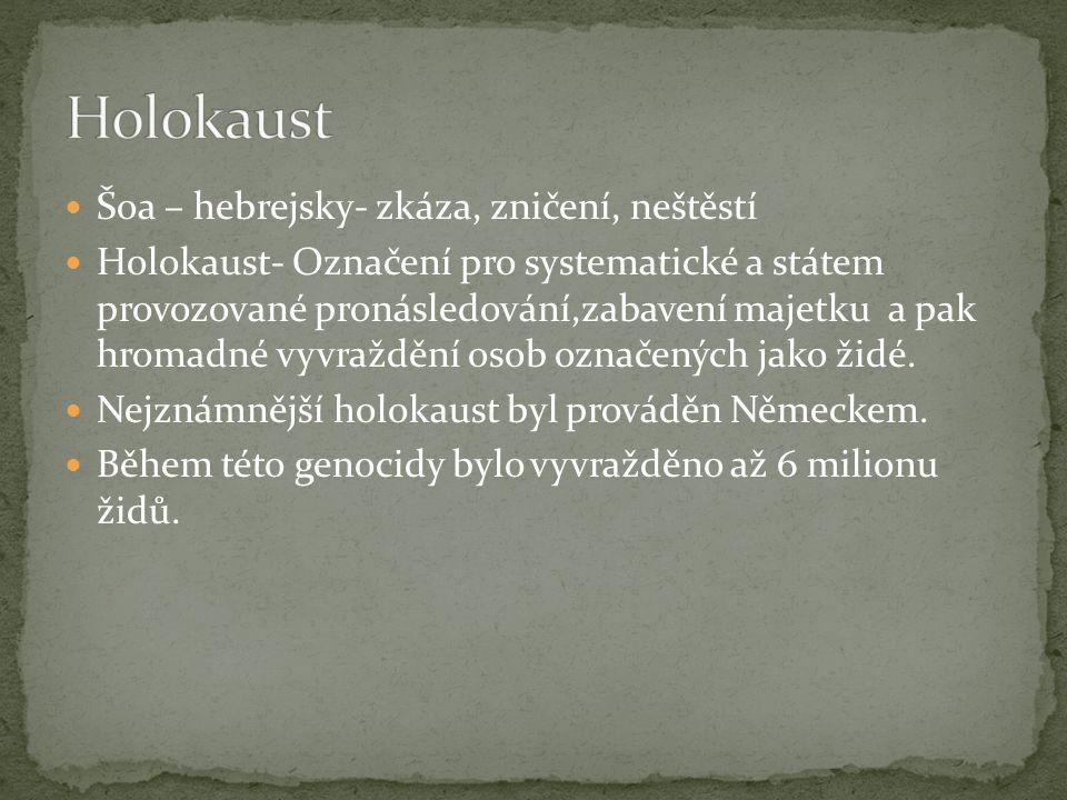 Holokaust Šoa – hebrejsky- zkáza, zničení, neštěstí