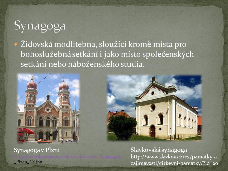 Synagoga Židovská modlitebna, sloužící kromě místa pro bohoslužebná setkání i jako místo společenských setkání nebo náboženského studia.