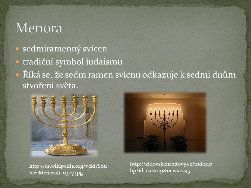 Menora sedmiramenný svícen tradiční symbol judaismu