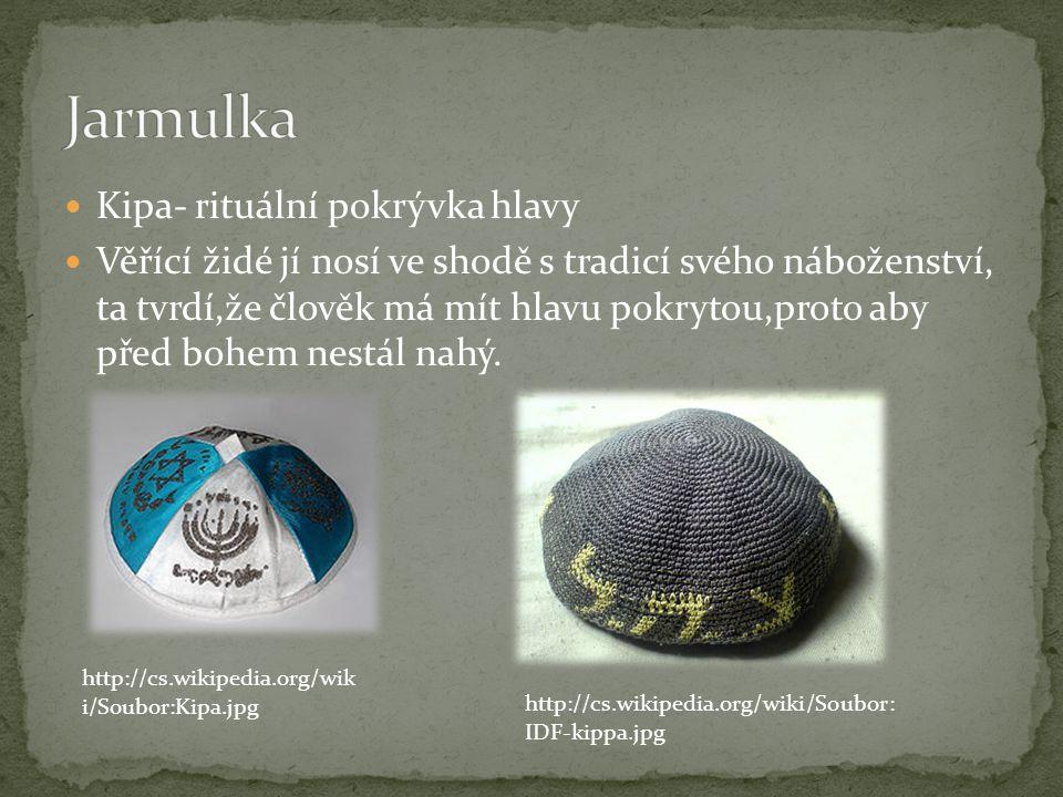 Jarmulka Kipa- rituální pokrývka hlavy